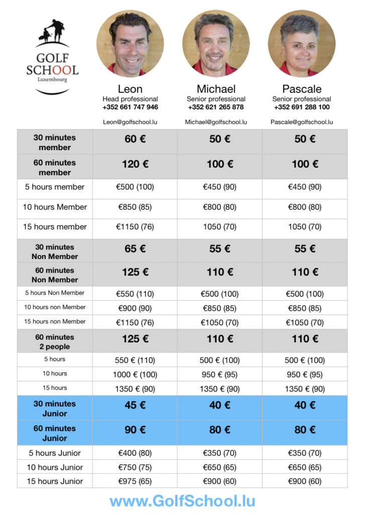 Golf lesson prices Luxembourg 2021